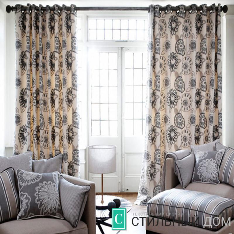Узорчатые шторы на люверсах в гостиную 5207