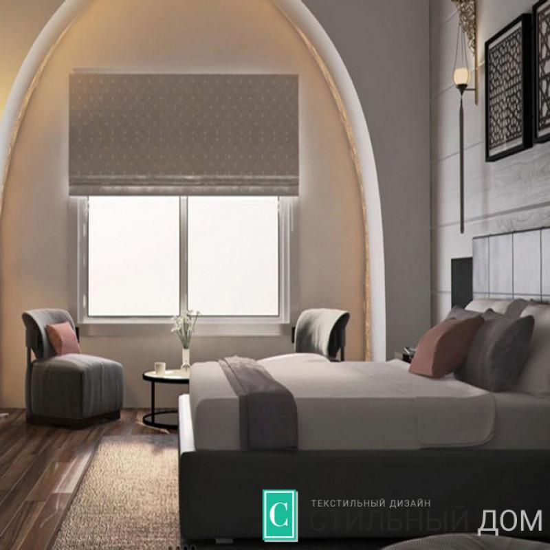 Серые римские шторы для спальни